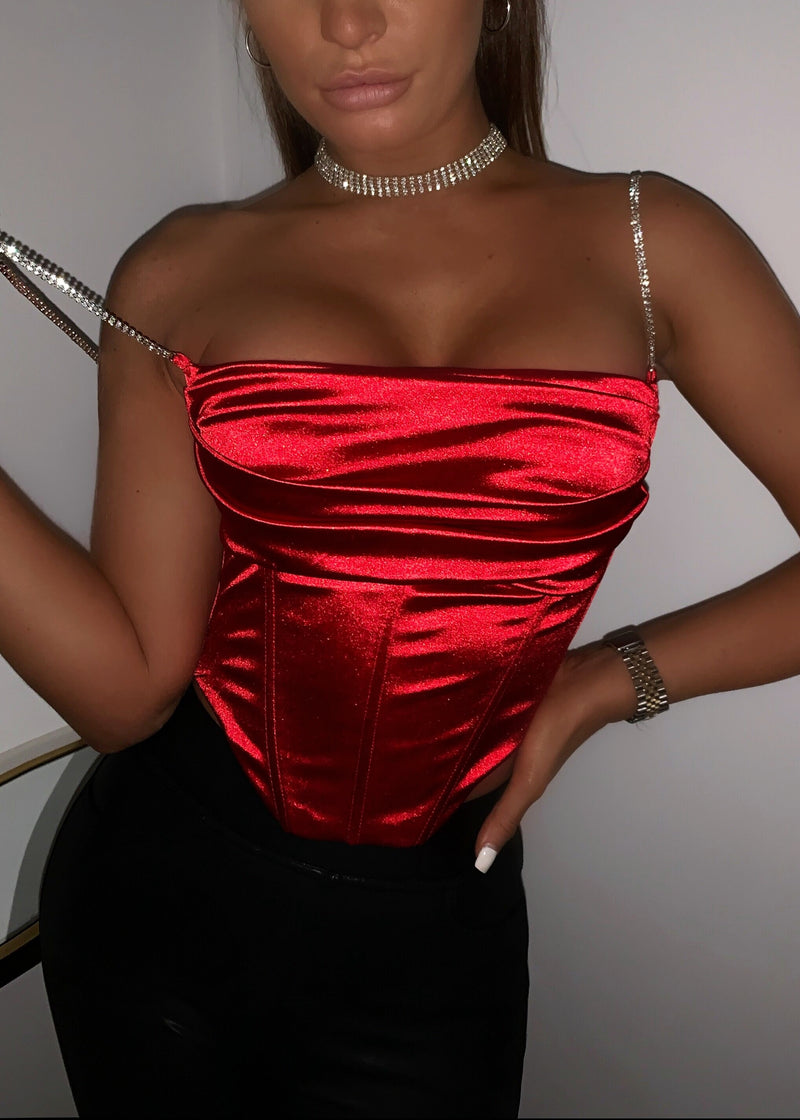 Love On Repeat Corset Satin Top - Red