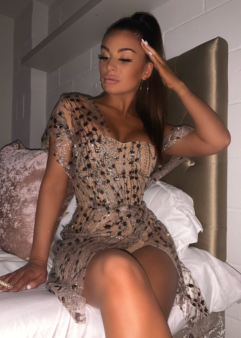 Sparkle Delight Glitter Mesh Dress - Bronze