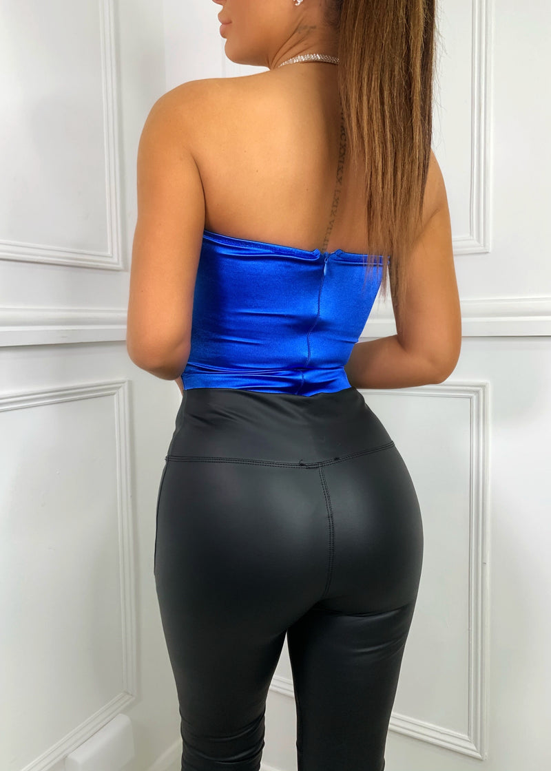 After Party Strapless Ruched Satin Bodysuit - Cobalt Blue