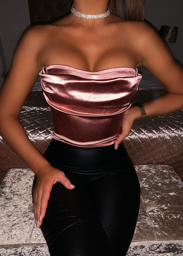 After Party Strapless Ruched Satin Bodysuit - Blush