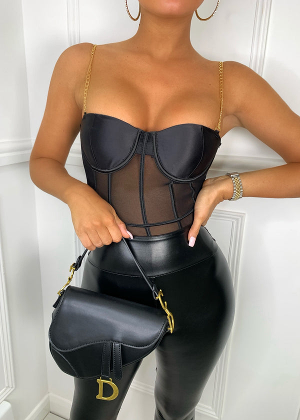Chain And Simple Mesh Bodysuit - Black