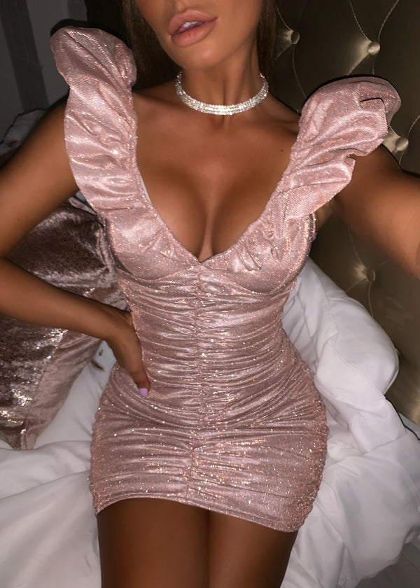 Bling it on Extreme puff sleeve Lurex dress - Rose Gold
