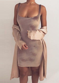 Marti Velvet Dress - Warm Blush M