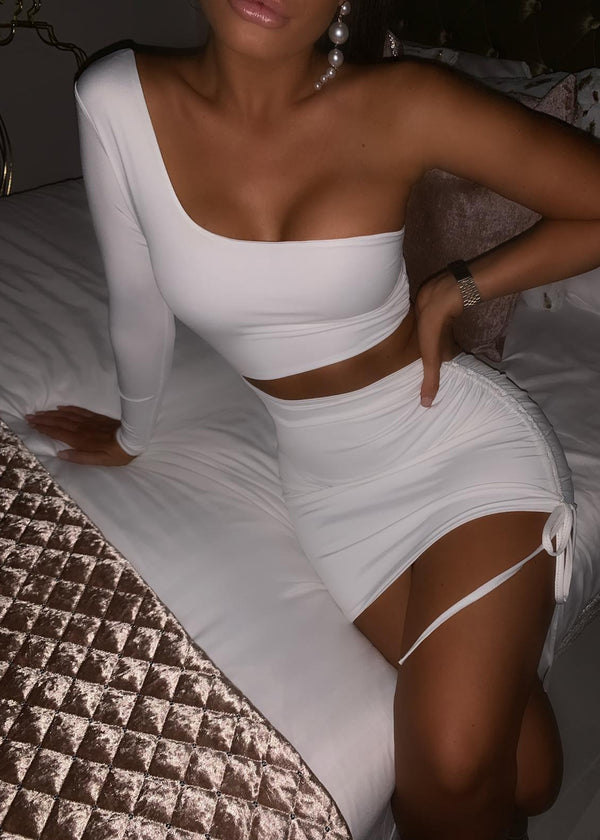 Make the Cut One Shoulder Dress - White