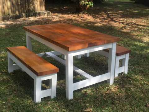 Custom Made Mvuli Wood Dining Table and Bench Set