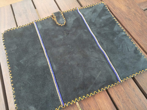 Laptop Sleeve 13-15 Inch with Cross Stitch Edges and Beaded Double Lines