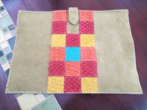 "Laptop Sleeve X-Large Up (16.5"" x 12"") w Tab Suede and Sasa Samaki Squares"