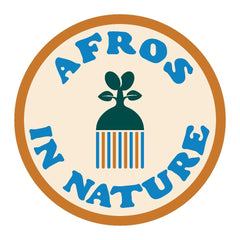 Afros in NAture Logo ---afro pick with leaves on top