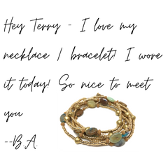 la playa wrap 24k gold plated glass seed beads and Peruvian opals wrap bracelet necklace anklet