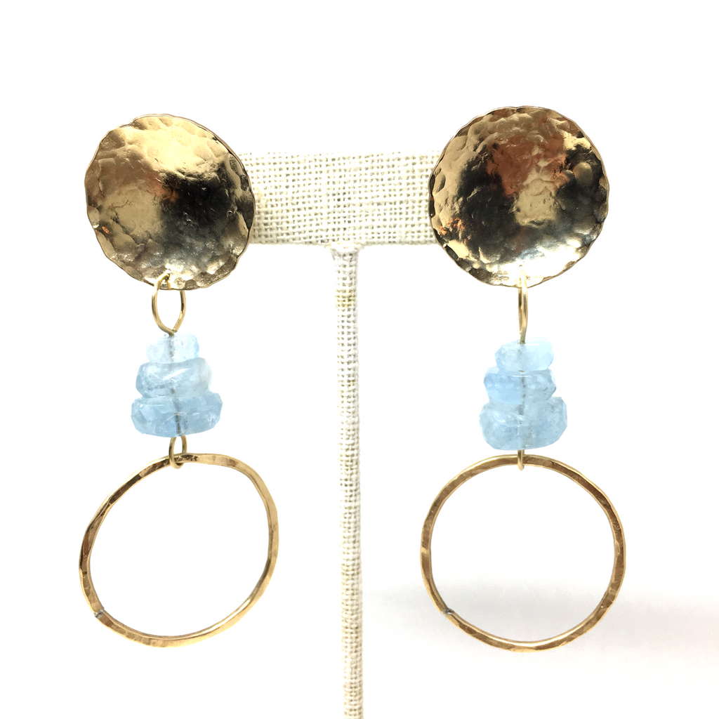 Blue AAA Aquamarine and Golden Brass Satellite Earrings