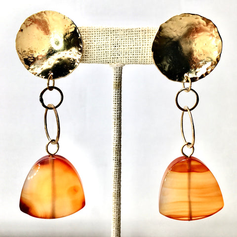 Orange Carnelian and Golden Brass Satellite Earrings