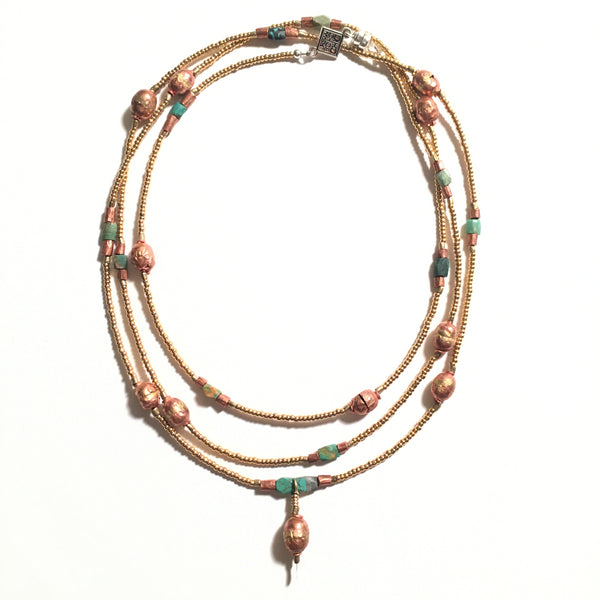 ENERGY & GRACE Copper Ethiopian Prayer Beads, Afghanistan Turquoise