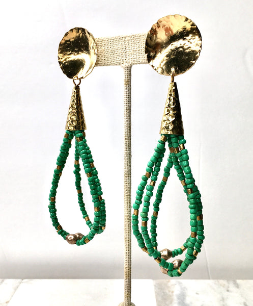 Euphrates Tassel Earrings- Green Goomba Seed Beads