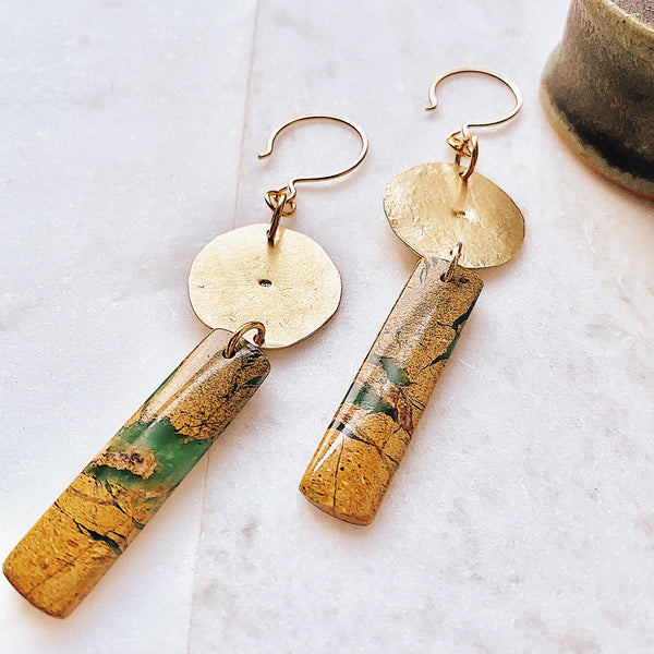 Great Spirit Earrings - Brass & Stone Canyon Jasper