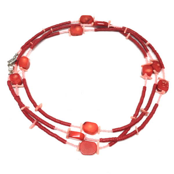 recycled red africa coral pink vinyl wrap necklace bracelet choker anklet