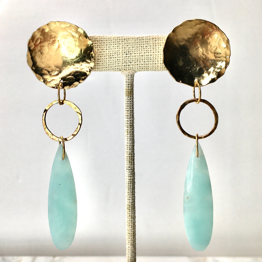 Sea Blue Amazonite and Golden Brass Satellite Earrings