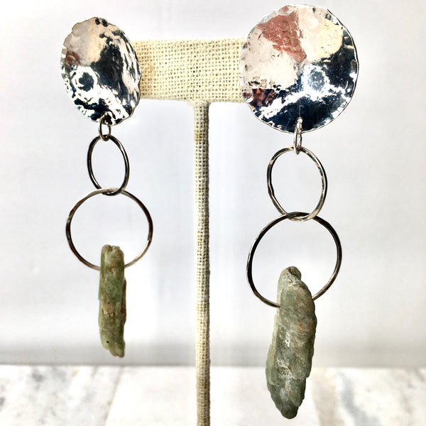 Green Brazilian Kyanite and Sterling Silver Satellite Earrings