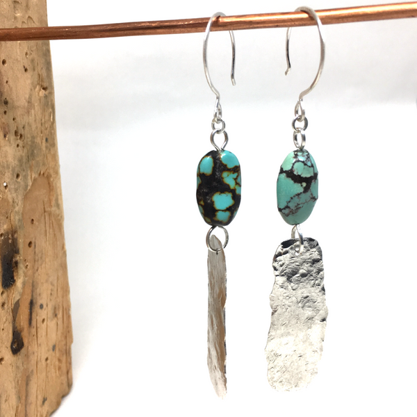 Turquoise Diva KINGMAN TURQUOISE & STERLING EARRINGS