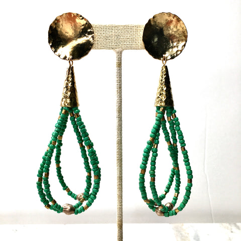Green Goomba Beaded Tassel Earrings