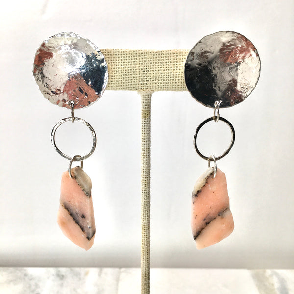 Peruvian Pink Opal & Sterling Silver Satellite Earrings