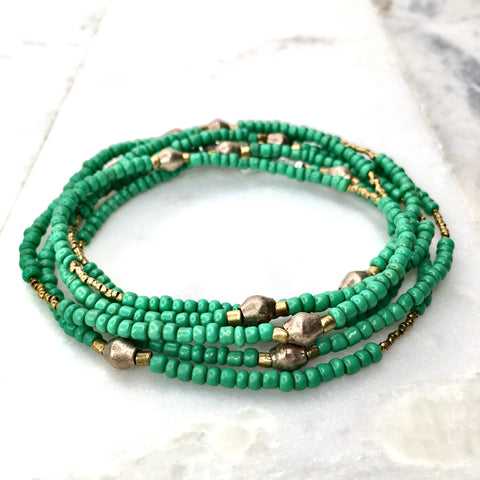 Euphrates Wrap - Green Goomba Seed Beads