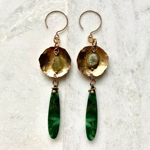 Mbombela Heart Earrings - African Jade, Green Kyanite & Brass