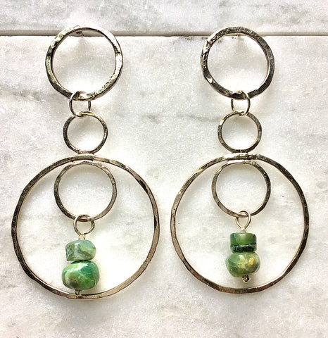 Peruvian Opal and Sterling Silver Infinity Earrings