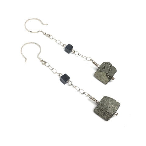 pyrite hematite sterling silver long dangle earrings