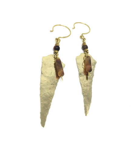 TIGEREYE Arrowhead Earrings