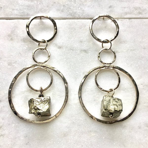 Pyrite and Sterling Silver Infinity Earrings