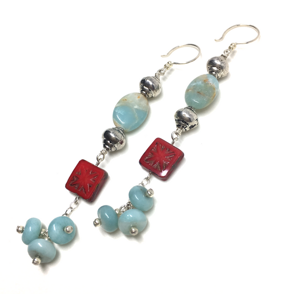 blue amazonite sterling silver red picasso czech glass earrings