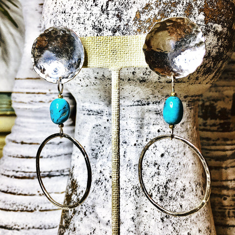 Blue Arizona Turquoise and Sterling Silver Satellite Earrings