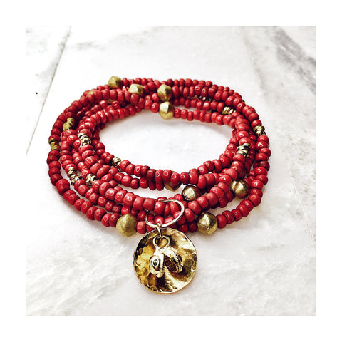 Red Ghanian Goomba Seed Bead Wrap