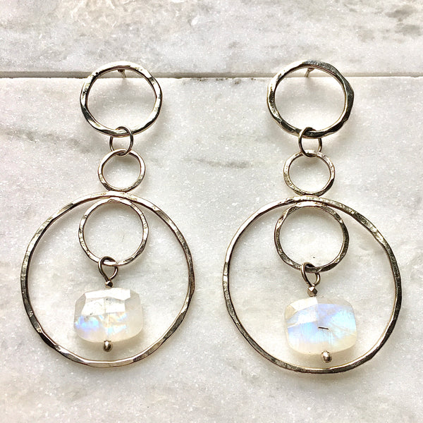 Moonstone and Sterling Silver Infinity Earrings