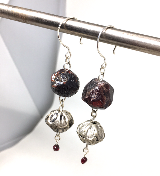rough garnet silver moroccan rose earrings with sterling silver components and ear wires handmade