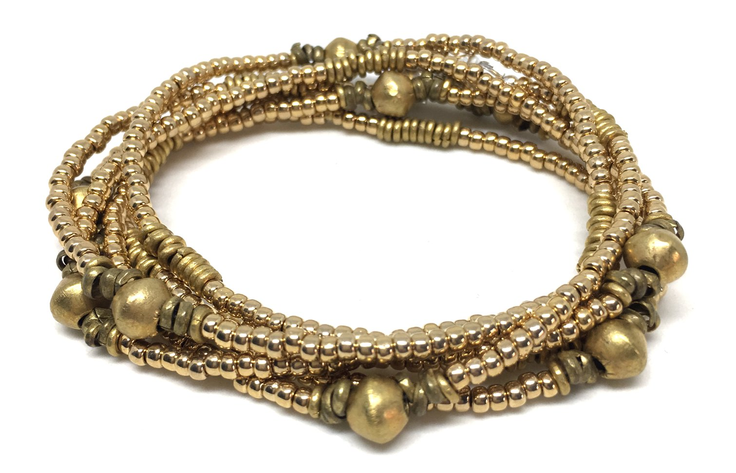 Ethiopian handmade brass kenyan 24k gold glass beaded wrap bracelet anklet choker necklace