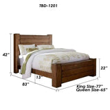 TimberCraft Beds Farmhouse Rustic Teak Bed TBD-1201