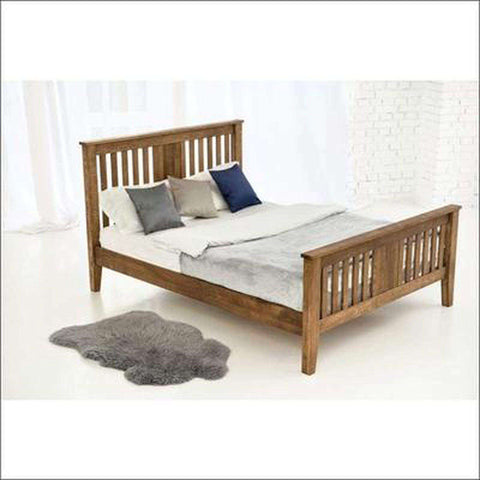 TimberCraft Beds King Size Teak Wood Bed Frame With Slatted Head Board