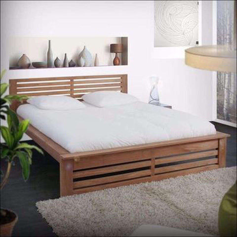 TimberCraft Beds Teak Wood Bed With Slatted headboard TBD-1801