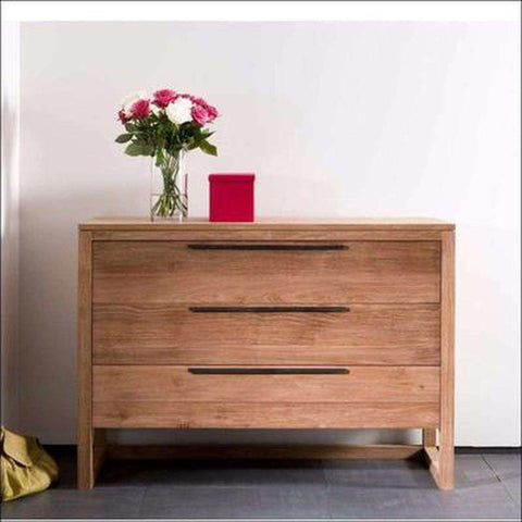 TimberCraft Chest Of Drawer Teak Wood Chest Of 3 Drawers TCD-1003
