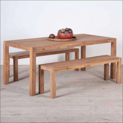 TimberCraft Dining Sets Teak Wood Dining Table Set With 2 Benches TDT-1601