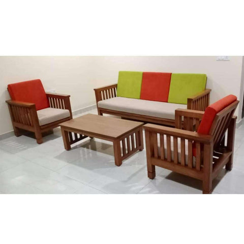 TimberCraft Sofas 3 + 1 + 1 ( 5 Seater ) Teak Wood Sofa TSF-1401