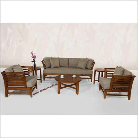 TimberCraft Sofas 3+1+1 Teak Wood Sofa Set TSF-1201