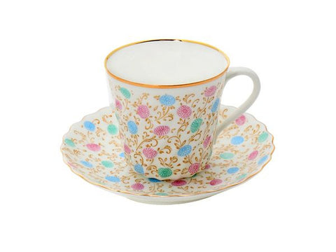 Cup & saucer Twister Chrysanthemum  with gold edging 1/2