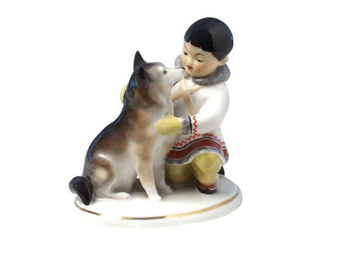 Yakutian boy with dog