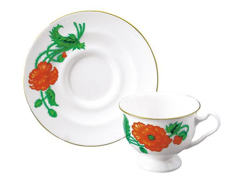 Cup & Saucer Isadora Fire Red Poppy