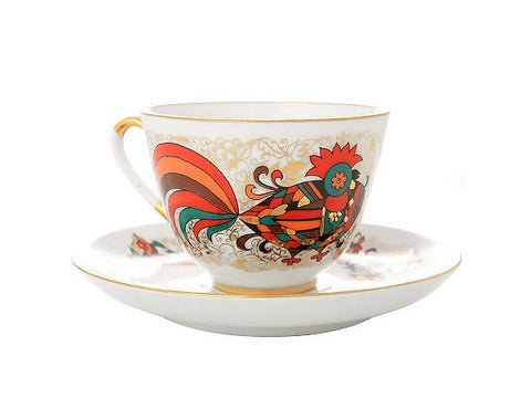 Cup & Saucer Red Rooster