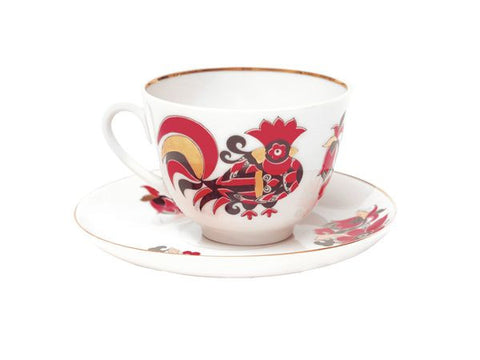 Cup & Saucer Red Roosters 1/2