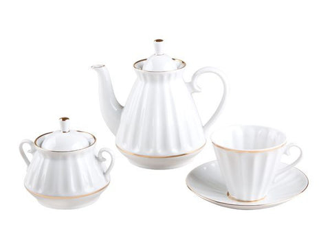 Tea set Radial White 6/20