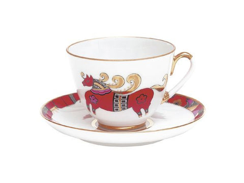 Cup & Saucer Red Horse 1/2